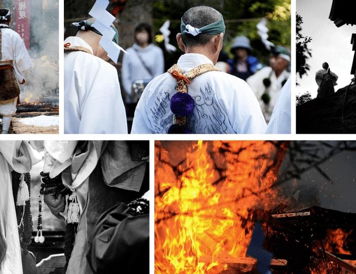 matsuri festival du feu japon mont mitoku