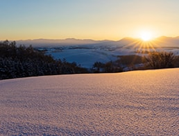 Rays of the rising sun, Tokachidake mountain range