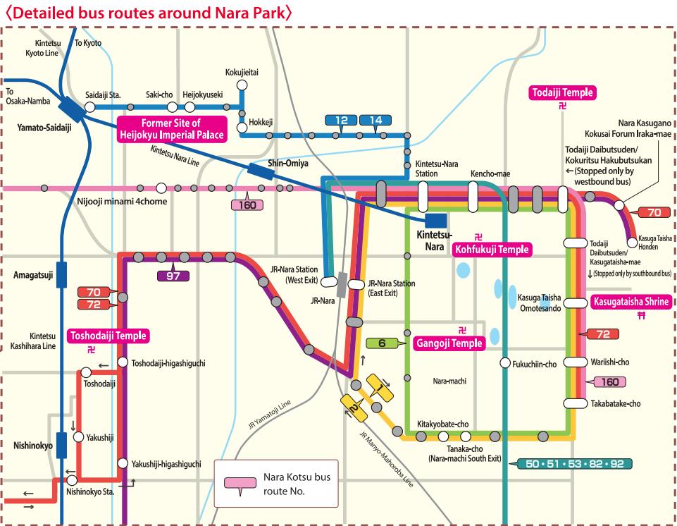 Plan Bus Nara avec Kintetsu